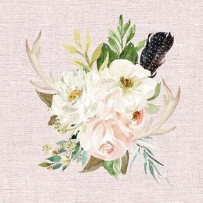 Rustic Boho Floral Antlers // Blush Linen