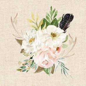"8"" Rustic Boho Floral Antlers // Akaroa Cream Linen"