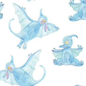Blue Pterodactyl with Baby