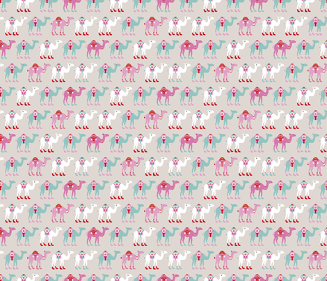 Colorful dromedary arabic summer oriental desert Camel parade  beige blue pink fabric by littlesmilemakers on Spoonflower - custom fabric