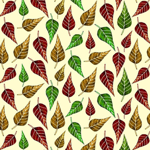 autumn leaves on cream