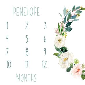 Boho Blush Florals Garden Baby Milestone Blanket