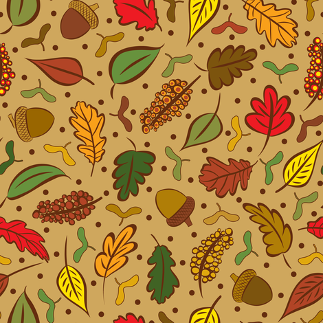 Colorful Autumn Leaves and Acorns fabric by elsy's_art on Spoonflower - custom fabric