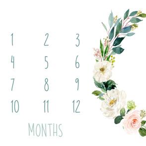 """54""""x36"""" // Boho Blush Florals Garden Baby Milestone Blanket"""