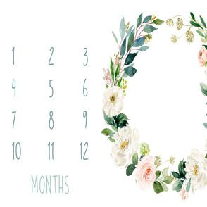 """42""""x36"""" // Boho Blush Florals Garden Baby Milestone Blanket"""