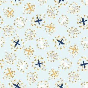 Festive Golden Confetti Crosses Seamless Vector Pattern
