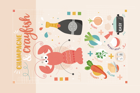 Crayfish_and_champagne fabric by la_fabriken on Spoonflower - custom fabric