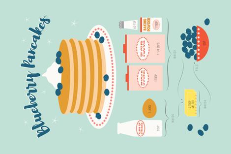 Blueberry Pancake Tea Towel Recipe fabric by katerhees on Spoonflower - custom fabric