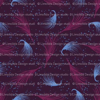 Purple Moonflower Leaves in Starry Space Pattern, Seamless Vector