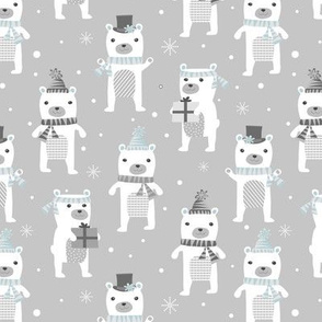 Polar Bears Holiday Gray and Blue