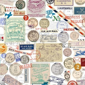 Post Collage* || mail postal postmark ephemera rubber stamp stamps numbers text airmail envelope airplanes
