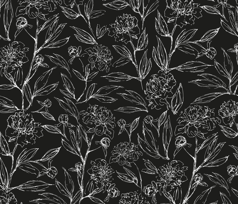 Black and white Peony fabric by jaanahalme on Spoonflower - custom fabric