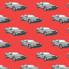 the DeLorean - red
