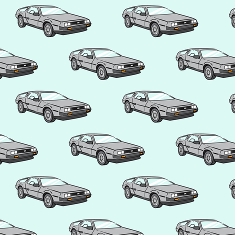 the DeLorean - light blue fabric by littlearrowdesign on Spoonflower - custom fabric
