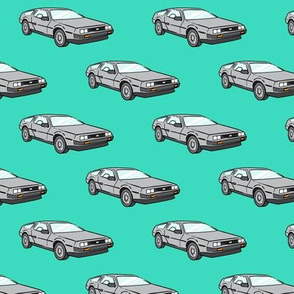 the DeLorean - teal