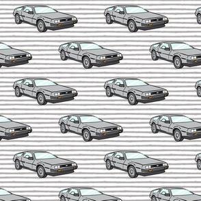 the DeLorean - grey stripes
