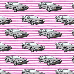 the DeLorean - pink stripes