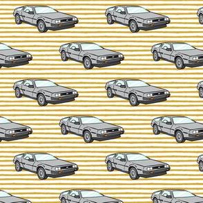 the DeLorean - gold stripes