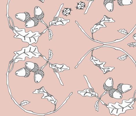 ACORNS AND LADYBUGS BLUSH PINK fabric by kristie_vargo on Spoonflower - custom fabric