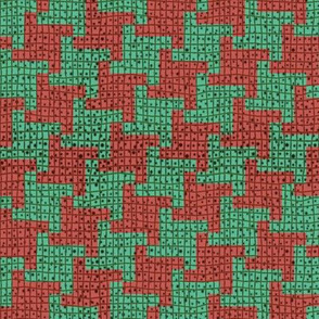 Diagonal Christmas Houndstooth Plaid
