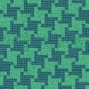 Diagonal Green Houndstooth Plaid