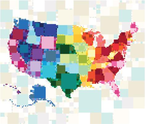 United Squares of America: Full Panel fabric by emilycier on Spoonflower - custom fabric