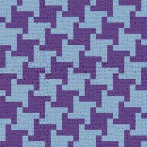 Diagonal Purple and Blue Houndstooth Plaid
