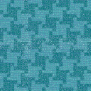 Diagonal Snowy Blue Houndstooth Plaid