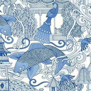 chinoiserie toile blue