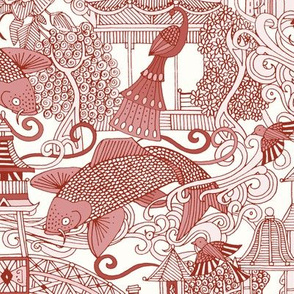 chinoiserie toile red