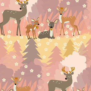 deer family ROSE pattern