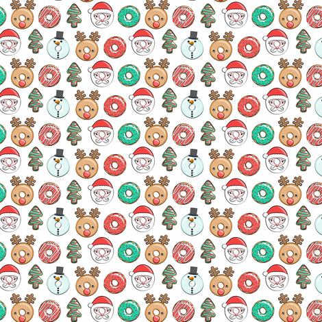 "(3/4"" scale) Christmas donuts - Santa, Christmas tree, reindeer - white C18BS fabric by littlearrowdesign on Spoonflower - custom fabric"