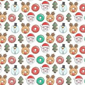 "(3/4"" scale) Christmas donuts - Santa, Christmas tree, reindeer - white C18BS"