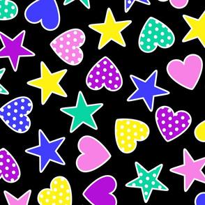 polka dot stars and hearts