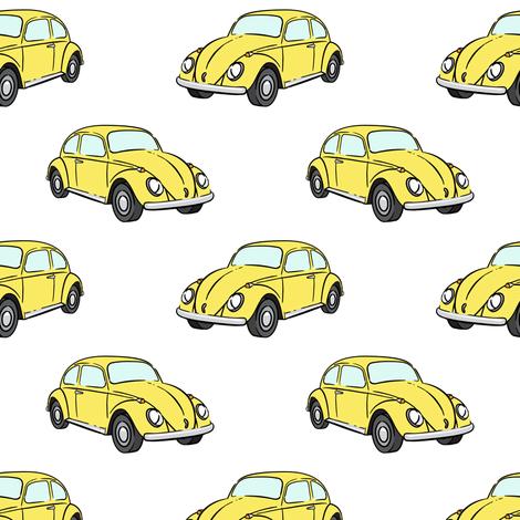 yellow bugs -  beetle car fabric by littlearrowdesign on Spoonflower - custom fabric