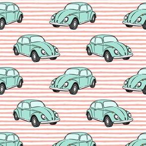 mint bugs - (pink stripe) beetle car