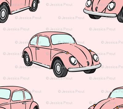 pink bugs - (pink) beetle car