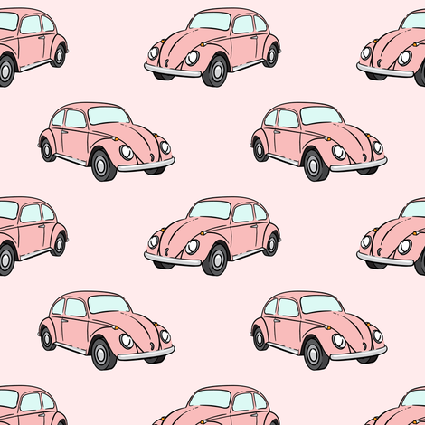 pink bugs - (pink) beetle car fabric by littlearrowdesign on Spoonflower - custom fabric