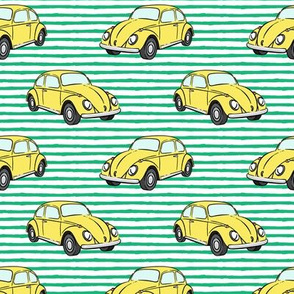 yellow bugs - (green stripe) beetle car