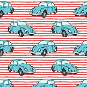blue bugs - (red stripe) beetle car