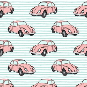 pink bugs - (aqua stripe) beetle car