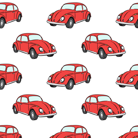 red bugs - beetle car fabric by littlearrowdesign on Spoonflower - custom fabric