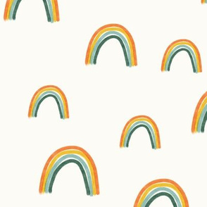 Rainbows (Green Bottom) on Cream