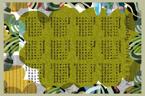 2019calendar green abstract fabric by kimmurton on Spoonflower - custom fabric