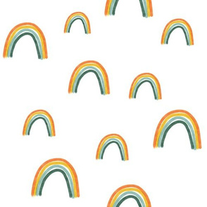 Rainbows (Green Bottom) on White