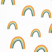Rainbows (Green Bottom) on White Linen
