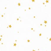Dreamy Gold Stars on White Linen