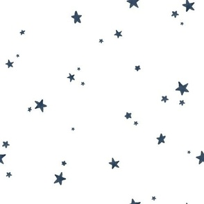 Dreamy Navy Blue Stars on White