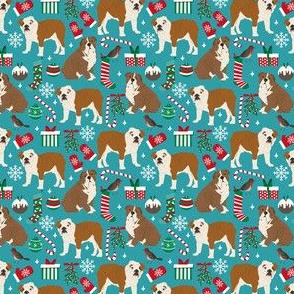 SMALL  - english bulldogs christmas fabric, bulldog fabric, bulldog fabric by the yard, english bulldog fabric,  cute xmas design english bulldogs christmas fabrics cute dog