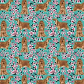 SMALL - cocker spaniel fabric, cocker spaniel fabric by the yard, dog fabric, dog fabric by the yard - cherry blossoms turquoise fabric